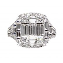 Baguette & Brilliant Cut Diamond Cluster Ring