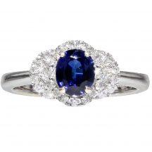Sapphire And Diamond Art Deco Ring