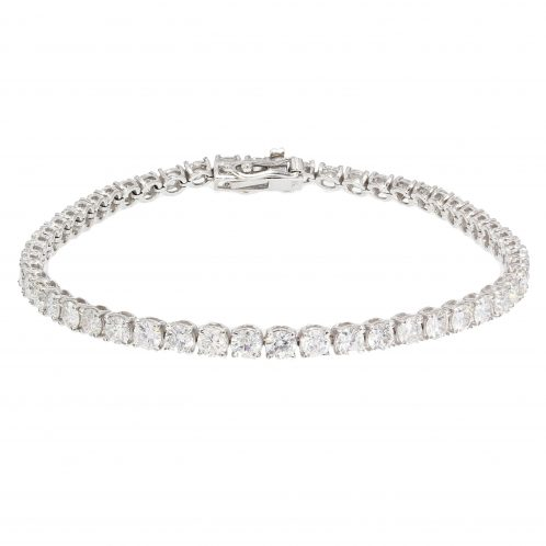 Brilliant Cut 4 Claw Diamond Line Bracelet 6.19ct