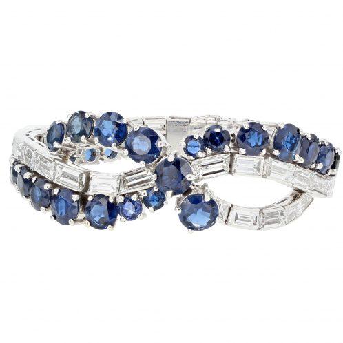 Circa 1930's Diamond & Sapphire Bracelet In Platinum 28.00ct