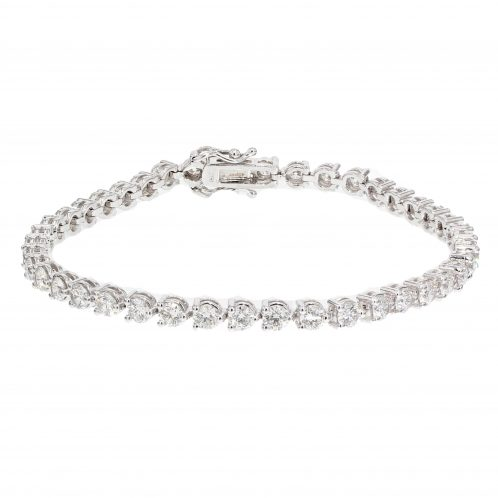 Brilliant Cut 3 Claw Diamond Line Bracelet 5.13ct
