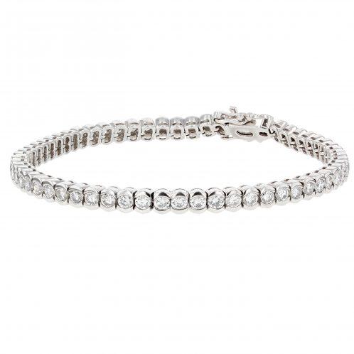Brilliant Cut End Cut Diamond Line Bracelet 7.25ct