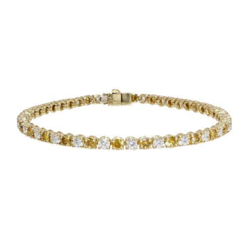 Brilliant Cut Yellow/White Diamond Tennis Bracelet