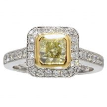 Fancy Yellow Radiant Cut Diamond Ring 1.01ct