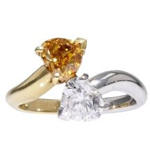 Fancy Intense Yellow – Orange Heart Shape Diamond Ring