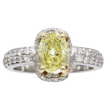 Fancy Yellow Oval Diamond Ring 1.58ct