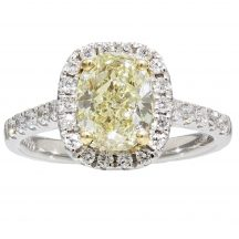 Fancy Light Yellow Oval Diamond Ring 1.67ct