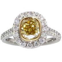 Fancy Yellow Oval Cut Diamond Ring 1.52ct
