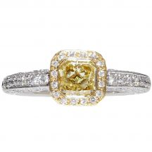 Fancy Yellow Radiant Cut Diamond Ring 0.75ct