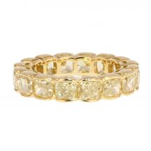 Cushion Cut Yellow Diamond Full Eternity Ring