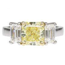 Fancy Yellow Diamond Three Stone Engagement Ring 2.18ct