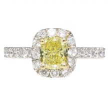 Fancy Intense Cushion Cut Diamond Engagement Ring 1.00ct