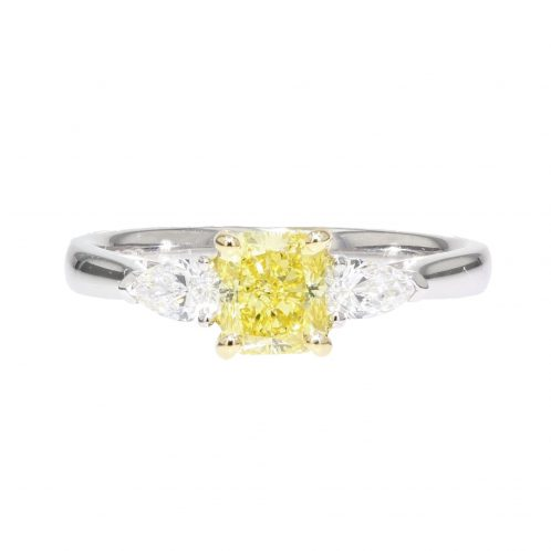 0.91ct Fancy Intense Yellow Radiant Cut Diamond Ring