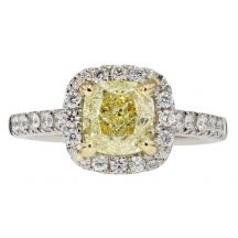 Fancy Yellow Cushion Cut Diamond Engagement Ring 1.52ct