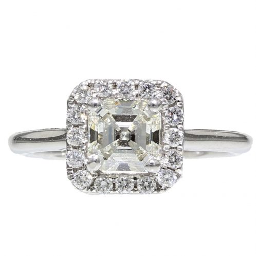 Asscher Cut Diamond Halo Ring 1.10ct