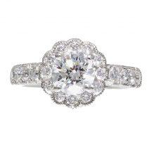 Brilliant Cut Diamond Flower Design Halo Ring