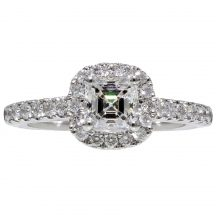 Asscher Cut Diamond Halo Ring 0.60ct