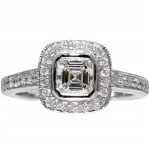 Asscher Cut Diamond Rubover Halo Ring 0.60ct