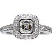 Asscher Cut Diamond Rubover Halo Ring