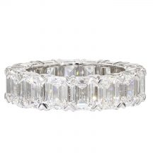 Emerald Cut Claw Set Diamond Full Eternity Ring