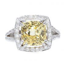 Yellow Sapphire & Diamond Ring 6.50ct