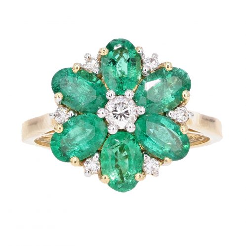 Emerald & Diamond Flower Ring