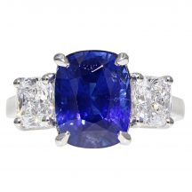 Cushion Cut Sapphire And Diamond Ring