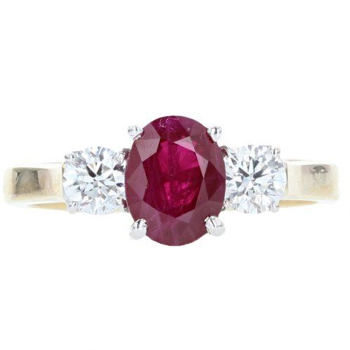 Ruby & Diamond Three Stone 1.82ct