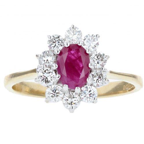 Oval Cut Ruby & Diamond Ring 0.75ct