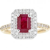 Ruby & Diamond Double Halo Cluster Ring