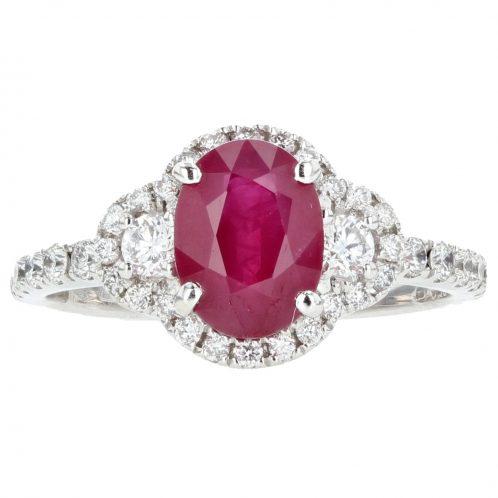 Oval Cut Ruby & Diamond Ring 1.50ct