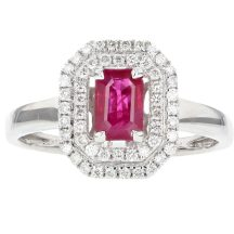 Emerald Cut Ruby & Diamond Ring 0.53ct