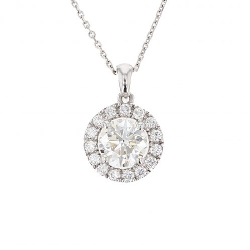 Brilliant Cut Diamond Halo Pendant 1.40ct