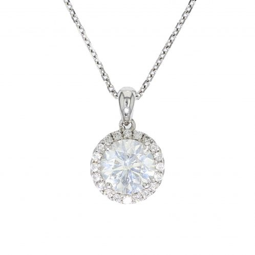 Brilliant Cut Diamond Halo Pendant 1.41ct