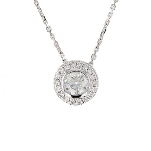 Brilliant Cut Diamond Halo Rub Over Pendant 0.50ct