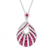 Channel Set Ruby & Diamond Pendant 2.70ct