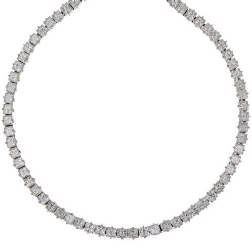 Princess Cut Diamond Line Necklace