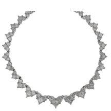 Princess and D Shaped Heart Diamond Graduating Necklace