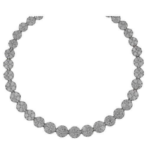 Brilliant Cut Diamond Cluster Necklace