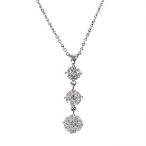 Three Stone Diamond Drop Pendant 2.44ct