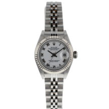 Ladies 26mm Rolex Datejust Steel & White Gold Bezel
