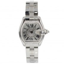 Cartier Ladies Roadster Silver Dial With Diamond Bezel