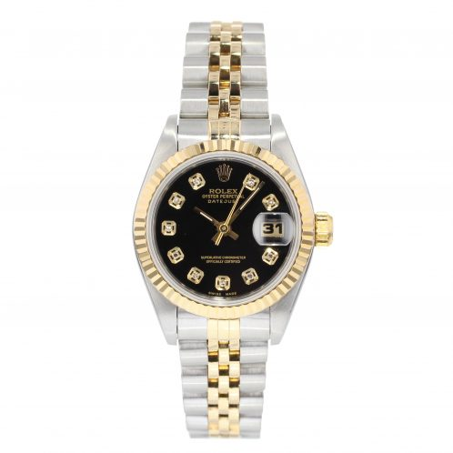 Rolex Datejust Steel And Gold With Black Diamond Dial