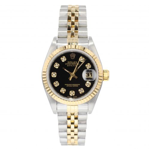 Rolex 26mm Steel & Gold Ladies Datejust With Black Diamond Dial