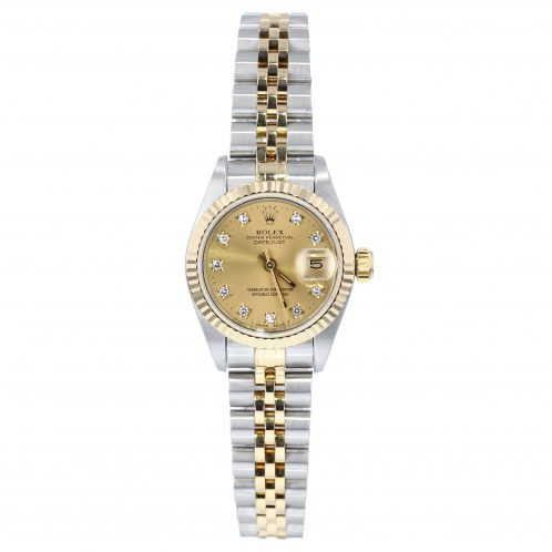Rolex Datejust Steel And Gold With Champagne Diamond Dial