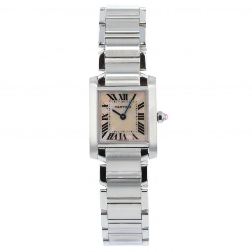 Cartier Tank Francaise In Steel With Mother Of Pearl Dial