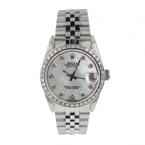31mm Rolex Datejust With Mother Of Pearl Diamond Dot Dial & Bezel
