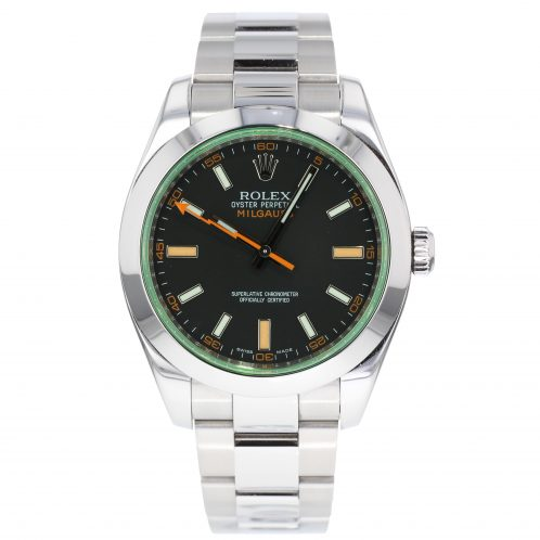 Rolex Milgauss Black Dial With Green Glass In Stainless Steel