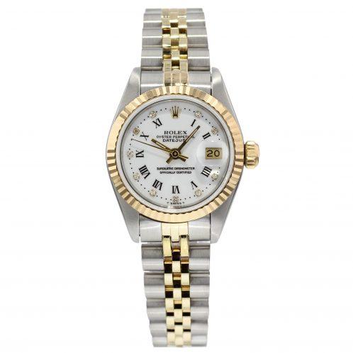 Rolex Ladies Datejust Steel & Gold Diamond White Dial