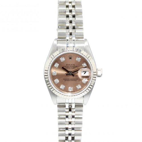 26mm Rolex Datejust Stainless Steel White Gold Bezel Pink Diamond Dot Dial